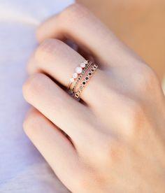 14kt rose gold and black diamond petite ballerina ring – Luna Skye by Samantha Conn