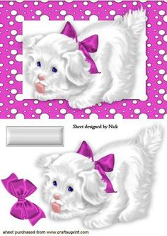 LITTLE WHITE PUPPY IN CERISE SPOTTY FRAME WITH BOW on Craftsuprint - Add To Basket!