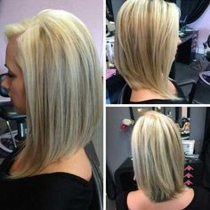 Simple Long Angled Bob Hairstyles Side Part for Straight Blonde and Fine Hair in Back and Side View