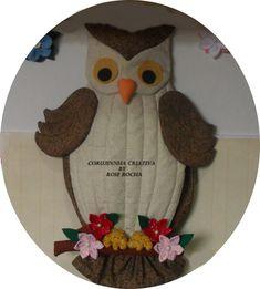 Puxa-Saco Coruja em patchwork,com flores de Fuxico