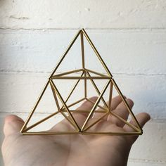 Pyramid air planter and table sculpture small by meandshestudios Geometric Shapes Design, Geometric Decor, Shape Design, Straw Sculpture, Cardboard Sculpture, Geometry Art, Easy Diy Crafts, String Art, Craft Tutorials