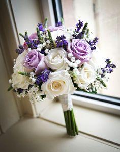 lilac, cream, rose colours, Rose Bridal Bouquet