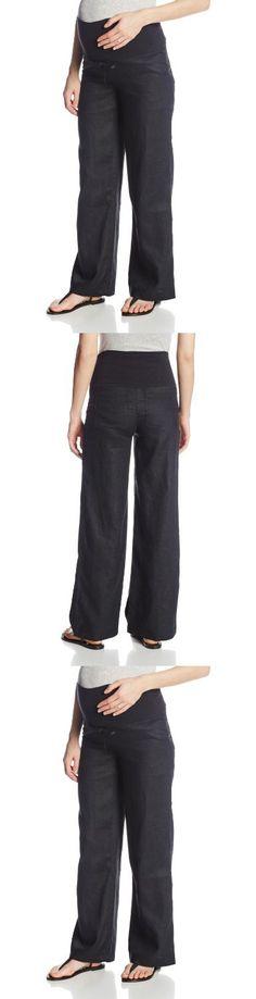 JoJo Maman Bebe Women's Maternity Linen Trousers, Black, 8