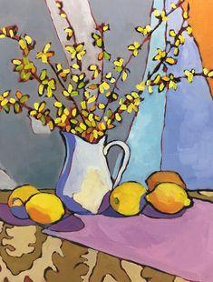 Forsythia and Lemons Original Still Life Oil Painting Paintings I Love, Original Paintings, Oil Paintings, L Eucalyptus, Still Life Oil Painting, Naive Art, Gouache Painting, Art Plastique, Painting Inspiration