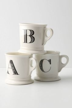 I love my monogrammed mugs. I've had these for about 5 years now and never get sick of them! @Anthropologie