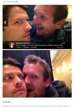 """Misha's face in the second pic though: """"what the hell, Sebastian, get away from me this instant you crazier-than-me person..."""""""