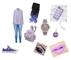"""purplefan(sis)"" by pink-4-ever100 ❤ liked on Polyvore featuring City Chic, Grafea, Uniqlo, Fiebiger, Glitzy Rocks, Forever 21, Geneva and Converse"