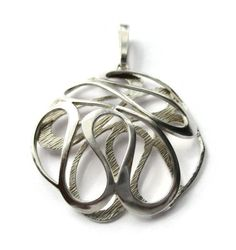 SOLD. 1973 modernist squiggle pendant, sterling silver 925 London import, likely Scandinavian or German, mid century modern freeform design, #713.