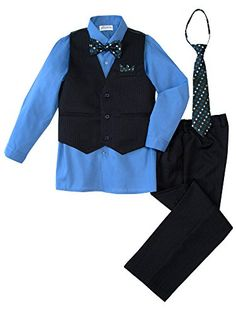 Spring Notion Big Boys' 5 Piece Pinstripe Vest Set ** Want to know more, visit