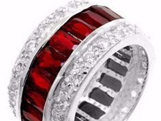 Kinsley Ruby Radiant Cut Eternity Statement Cocktail Ring   11 Carat   Cubic Zirconia