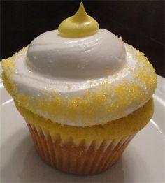 Lemon Drop Cupcake : Lemon cupcake, topped with Grey Goose vodka frosting and yellow sanding sugar.