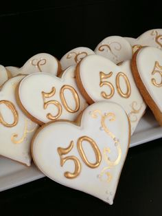 50th Anniversary Cookies - For all your Golden Anniversary cake decorating supplies, please visit http://www.craftcompany.co.uk/occasions/anniversary/golden-wedding-anniversary.html