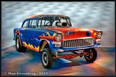 1955 Chevy 210 Awesome Flame Job With Red White & Blue Worked In! Excitable Gasser.
