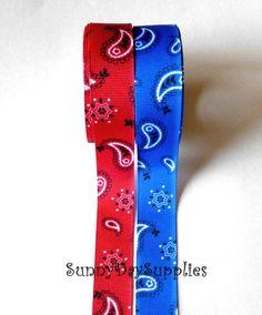 Bandana Grosgrain Ribbon Cowboy Western Red or by SunnyDaySupplies