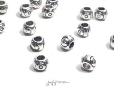 Antique Silver Evil Eye Beads, Pewter Large Hole Beads, Bulk Metal Jewelry Beads, 4x5mm, 2.5mm hole, Lot Size 14 to 50,  #1241 BH