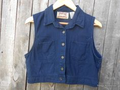 90s Grunge Vest Cropped Navy Blue Fall Button Up by ThingsRedeemed, $15.00
