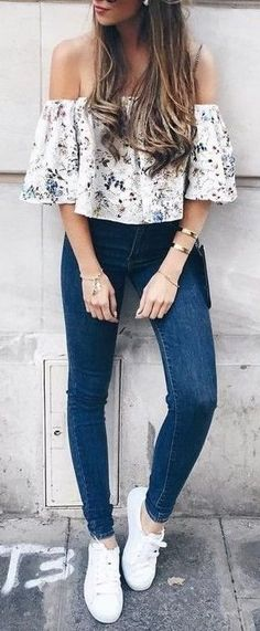 #summer #fashion / denim + pattern print blouse