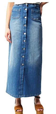 Etecredpow Womens Bodycon Fishtail High Waisted Denim Single Breasted Ruffle Mid Long Skirts