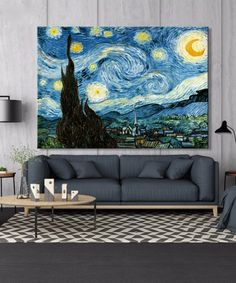 Van Gogh Starry Night Posters and Prints Wall Art Canvas Painting Famous Painting Decorative Pictures for Living Room Home Decor Paintings Famous, Famous Art, Vincent Van Gogh, Canvas Wall Art, Wall Art Prints, Canvas Prints, Painting Prints, Gogh The Starry Night, Impressionist Paintings
