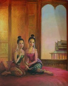 """The sisters: Phra Phuean & Phra Phaeng"", 1971, oil on canvas, by a Thai national artist Chakrabhand Posayakrit"