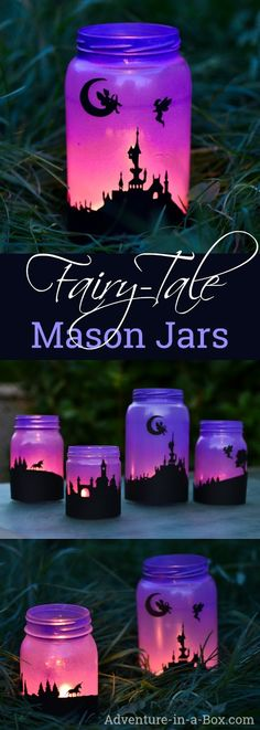 Fairy Tale Mason Jar Lanterns Turn mason jars into a set of fairy-tale lanterns with silhouettes of fairies and unicorns! Three years ago, I made sets of both Halloween and Christmas lanterns. We have enjoyed them for a while, and have since made a few ne Fairy Lanterns, Mason Jar Lanterns, Mason Jar Lighting, Mason Jar Projects, Mason Jar Crafts, Diys With Mason Jars, Mason Jar With Lights, Crafts With Jars, New Crafts