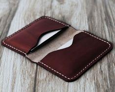 Personalizzati in pelle porta biglietti da visita 110 / Bussiness Card caso / scheda portafoglio / Slim portafoglio / Minimal portafogli di pelle / Dark Brown