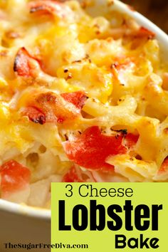 This three cheese lobster bake is made with macaroni and cheese. Fish Dishes, Seafood Dishes, Seafood Recipes, Pasta Recipes, Fish Recipes, Lobster Casserole Recipe, Casserole Recipes, Fun Easy Recipes, Low Carb Recipes