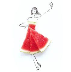 Fashion Food Illustration | Gretchen Röehrs: Sketchbookseite: aufgeklappt wie bei einer Fashion Show