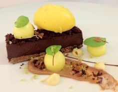Chocolate Ganache with Mango Sorbet Crackle #catering #leicestershirefood #xclusive #events