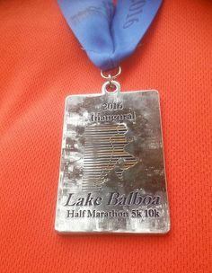 Lake Balboa Half Marathon medal in California - 2016 bling photos - half marathon medal photos taken by Fifty States Half Marathon Club members www.50stateshalfmarathonclub.com