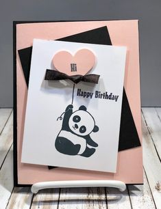 Tamie Ackerson, Stampin' Up Demonstrator, Creative Birthday Cards, Kids Birthday Cards, Scrapbook Ideas For Birthday, Diy Gifts Videos, Stampin Up, Handmade Birthday Gifts, Panda Birthday, Panda Party, Card Drawing