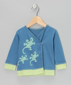 Take a look at this Indigo & Pistachio Gecko Organic Long-Sleeve Wrap Top - Infant & Toddler by Kids Organic on #zulily today!