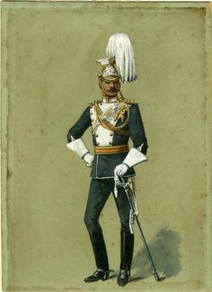 17th (The Duke of Cambridge's Own) Lancers. Officer Full Dress 1890. The 17th were one of the two British Cavalry regiments to serve in the Zulu war.