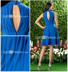 A-line High Neck Knee-length Chiffon Bridesmaid/Wedding Party Dress - USD $ 89.99