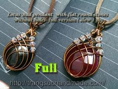 Lotus Bud pendant with flat round stones without holes - full version ( ...