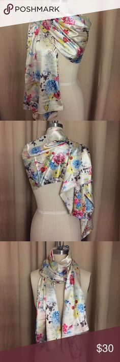 """Multi color floral silk scarf 100% silk scarf with multi color print depicting peonies and butterflies. Can be worn multiple ways for versatility. New never been worn. Dimensions: 28"""" x 64"""" Accessories Scarves & Wraps"""