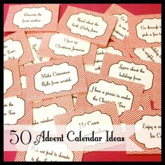 Ideas for advent calendar activities, free printable