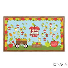 Teach the basics of their faith with help from this Jesus is the Core Bulletin Board Set. This VBS or Sunday School classroom decoration features several . Jesus Bulletin Boards, Apple Bulletin Boards, Cafeteria Bulletin Boards, September Bulletin Boards, Religious Bulletin Boards, Christian Bulletin Boards, Summer Bulletin Boards, Halloween Bulletin Boards, Back To School Bulletin Boards