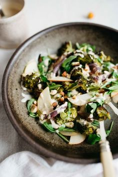 charred broccoli + red onion salad with shaved apples + arugula