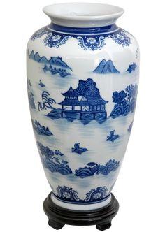 Vase with Blue Landscape Design