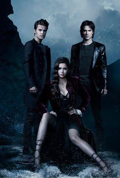 Stefan, Elena, Damon Wallpaper