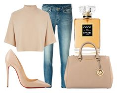 """""""Lady bella."""" by lucieednie ❤ liked on Polyvore featuring 7 For All Mankind, Christian Louboutin, Warehouse, Chanel and MICHAEL Michael Kors"""