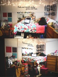 I want my dorm room to look kind of like this, but cleaner and with my stuff