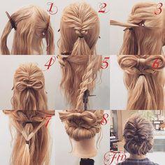 フォロワーさんリクエスト★ お客様アレンジ✨ リボン×ギブソンタックアレンジ 1,横と後ろを分けてトップはV字に分けとります 2,二つ編み込みを作ります(やり方は二つ前のpicに載せてます) 3,二つ編み込みの下の髪をとります(反対側も同じです) 4,3番の髪を使ってリボンを作ります(作り方は一つ前のpicにあります) 5,横の髪をロープ編みをします 6,リボンの下で結びます 7,余っている髪を少しだけとり後ろで結びます 8,余っている髪でギブソンタックを作ります Fin,崩したら完成です 参考になれば嬉しいです^ ^ #ヘア#hair#ヘアスタイル#hairstyle#サロンモデル#サロモ#撮影#編み込み#三つ編み#フィッシュボーン#ロープ編み#まとめ髪 #アレンジ#結婚式#ブライダル#ヘアアレンジ#アレンジ動画#アレンジ解説#香川県#高松市#丸亀市#宇多津#美容室#美容院#美容師#リボンアレンジ#ギブソンタック