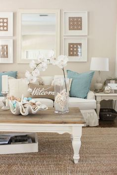 Beach Living Room Decor components can add a touch of style and design to any home. Beach Living Room Decor can imply many issues to many individuals… Beach Living Room, Coastal Living Rooms, My Living Room, Living Room Furniture, Small Living, Dark Furniture, Furniture Ideas, Beach Room, Cottage Furniture