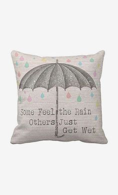 Pillow Cover Umbrella with Pastel Raindrops