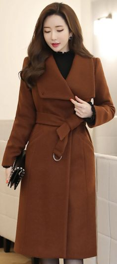 StyleOnme_Side Gold Button Stand Collar Belted Long Coat #brown #elegant #coat #koreanfashion #kstyle #kfashion #wintertrend #dailylook