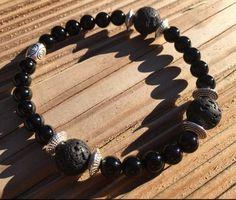 Joli bracelet élastique pour femme ou homme, véritables pierres semi-précieuses sélectionnées avec soin, qualité supérieure.   Les vertus de l'onyx noir  L'onyx est  - 20282978