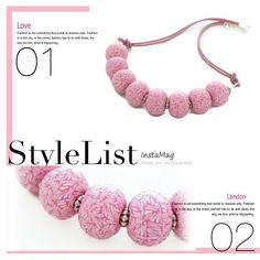 Chunky Pink Kaleidoscope Beaded Necklace for women, handmade polymer clay statement jewelry by Lottie of London #lottieoflondon