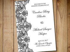 "Fold Over Wedding Program Template Download ""Chantilly"" Black Vertical Lace Program Order of Service Half Fold Program Printable Download by PaintTheDayDesigns"